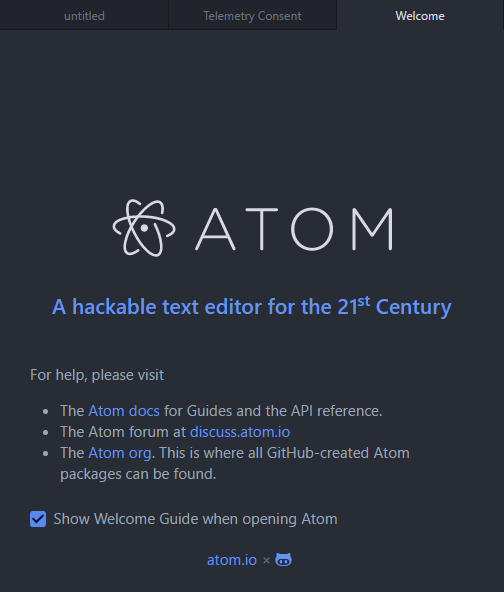 atom welcome